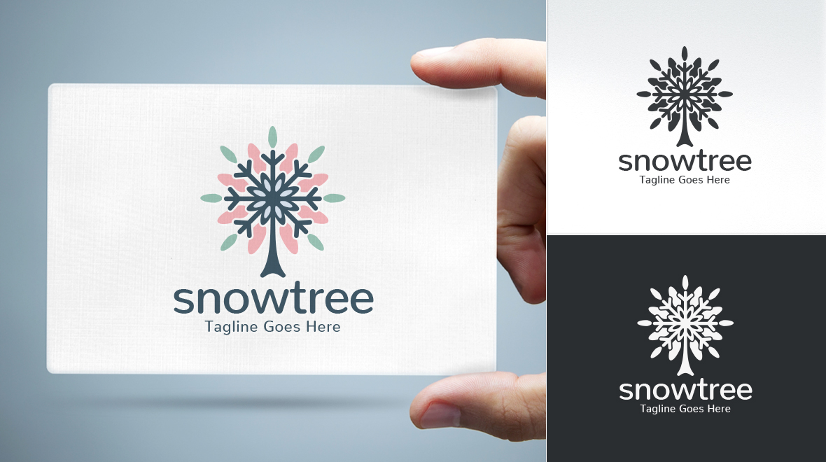Snow - Tree / Snowflake Logo - Logos & Graphics