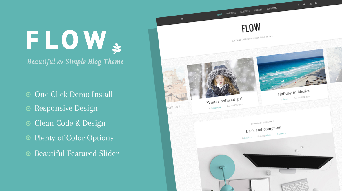 Flow beautiful simple wordpress blog theme themes templates 9 sales pronofoot35fo Gallery