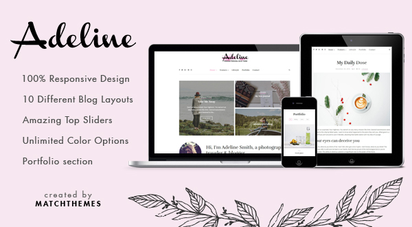 Adeline - Feminine Personal WordPress Blog Theme