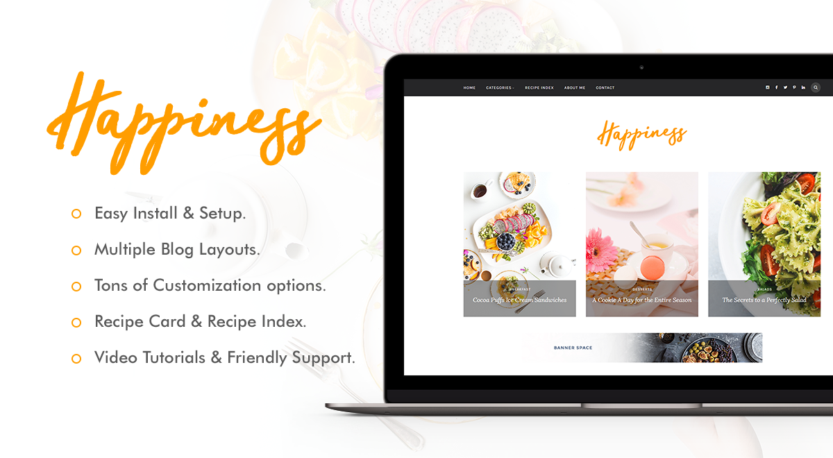 Happiness - WordPress Theme for Food Bloggers