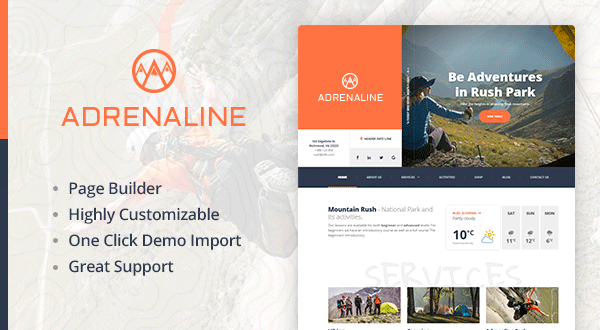 Adrenaline - Extreme Sports WordPress Theme