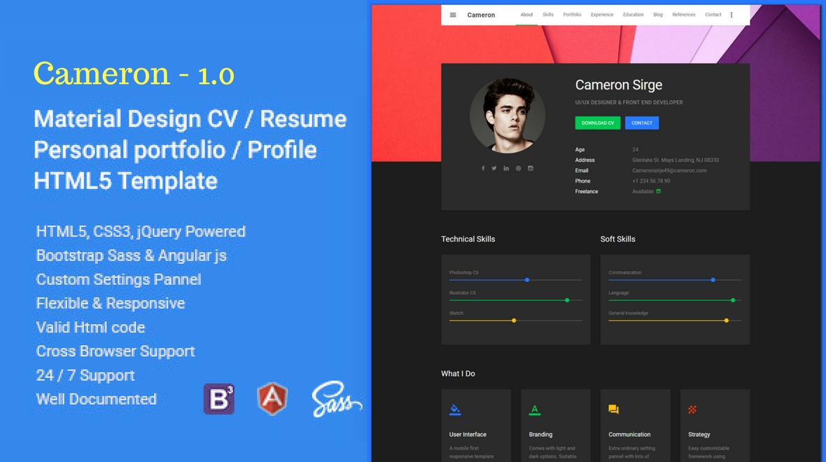 cameron   resume    vcard    html template