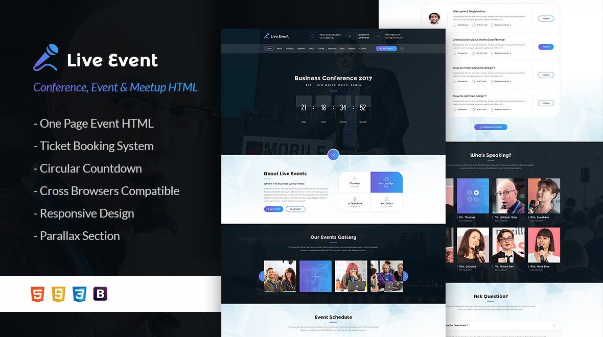 Live Event Template - Live Event Conference & Meetup HTML Template ...