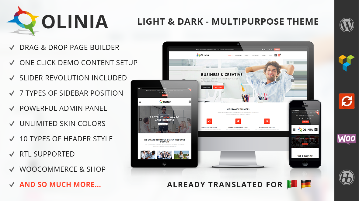 Olinia multipurpose business wordpress theme themes templates 177 sales accmission Choice Image