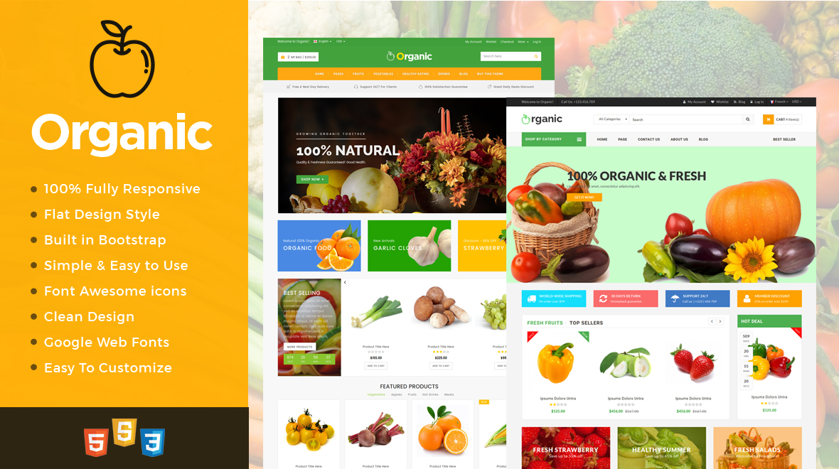 Organic Html Food And Restaurant Website Template Themes Templates