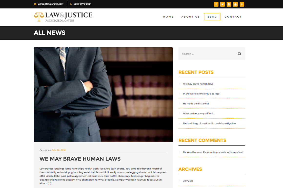 Law and Justice: Attorney Lawyer HTML5 Template - Themes ...