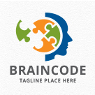 Brain Code - Head Puzzle Logo
