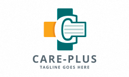 Care Plus - Letter C and Medical Cross Logo