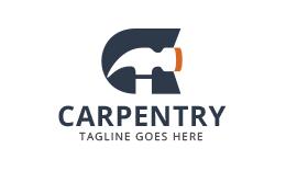 Carpentry - Letter C and Hammer Logo