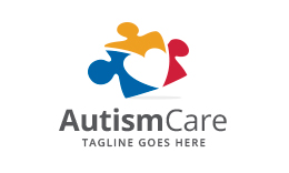 Autism Care - Puzzle - Heart - People logo