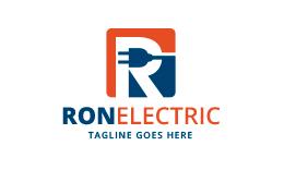 Letter R Electrical Plug Logo